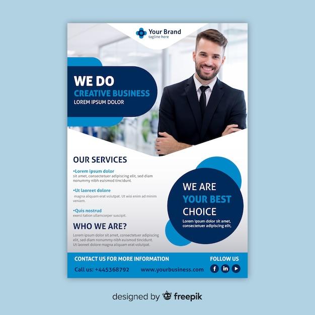 Modelo de panfleto de negócios com foto Vetor Premium
