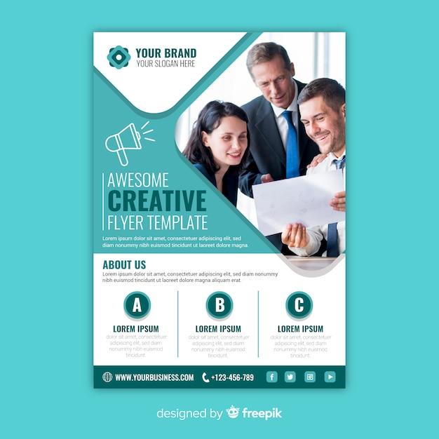 Modelo de panfleto de negócios com foto Vetor grátis