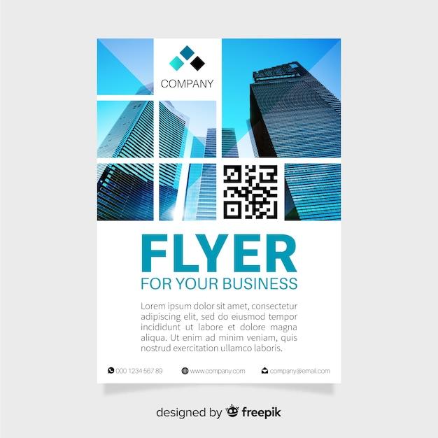 Modelo de panfleto de negócios com fotos de mosaico Vetor grátis
