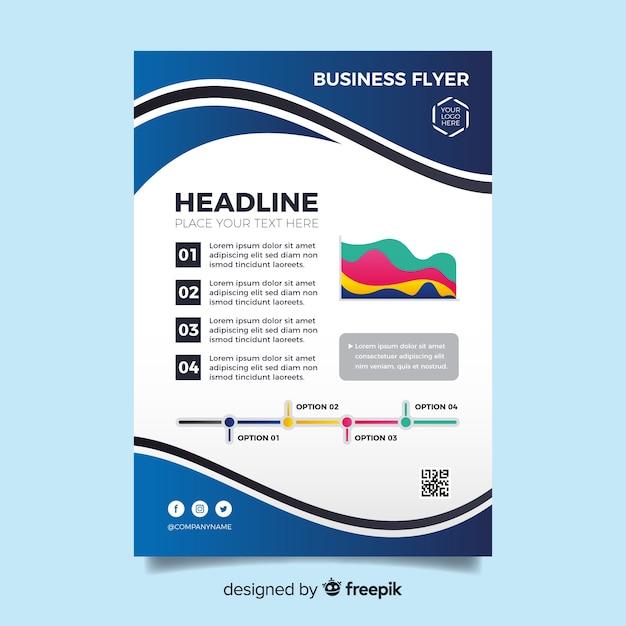 Modelo de panfleto de negócios de design plano Vetor grátis