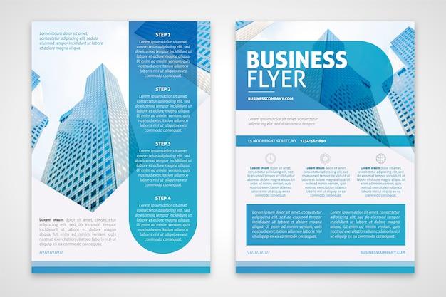 Modelo de panfleto de negócios em tons de azuis Vetor grátis