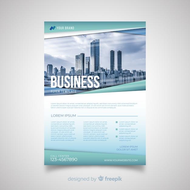 Modelo de panfleto de negócios moderno com design abstrato Vetor grátis