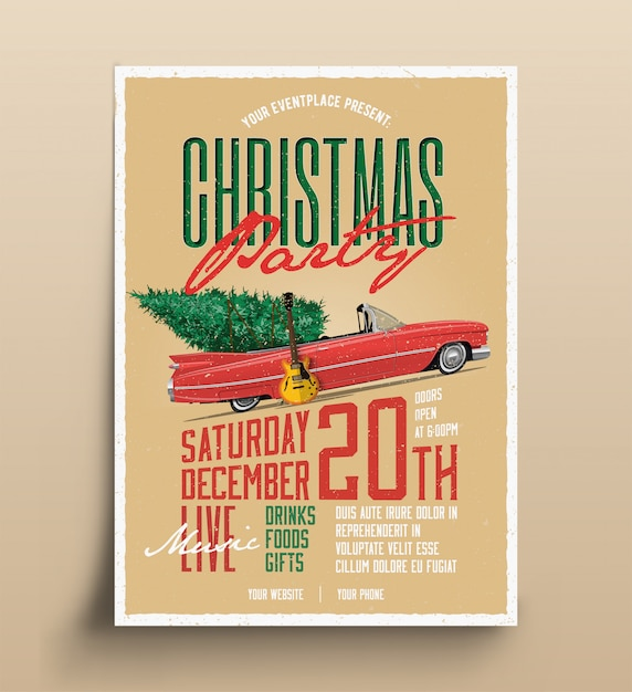 Modelo de panfleto de poster retro de festa de natal para evento musical ao vivo com carro e árvore de natal e guitarra elétrica Vetor Premium