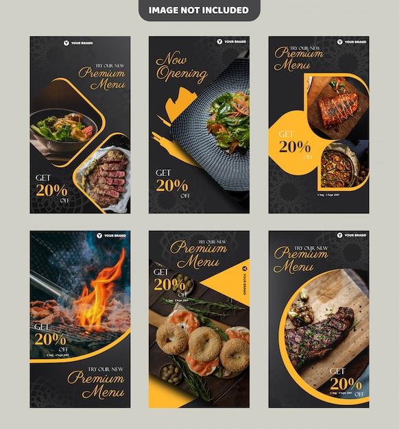 Modelo de panfleto de restaurante de bife ou banner de história do instagram Vetor Premium