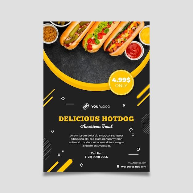 Modelo de panfleto de restaurante de comida americana Vetor grátis
