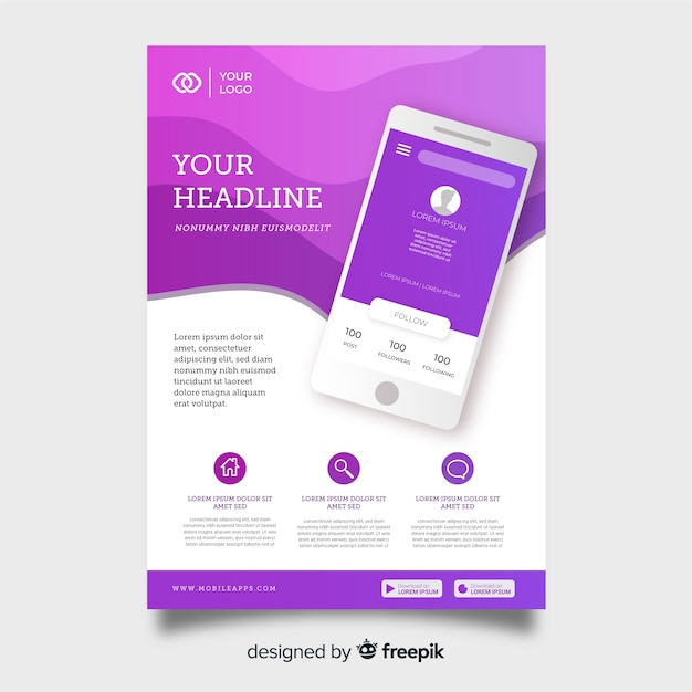 Modelo de panfleto de tecnologia com smartphone Vetor grátis