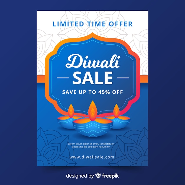 Modelo de panfleto de venda plana diwali em tons de azuis com velas Vetor grátis