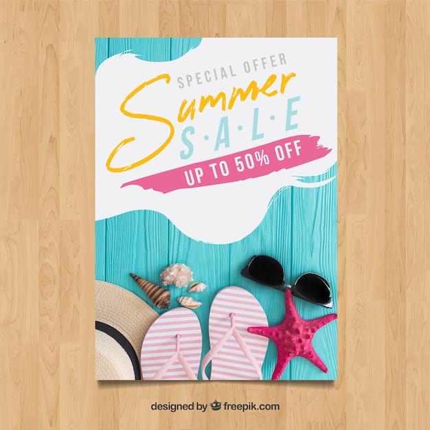 Modelo de panfleto de venda verão criativo com imagem Vetor grátis