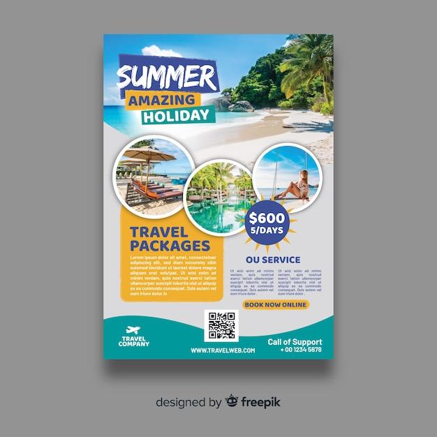 Modelo de panfleto de viagens Vetor grátis