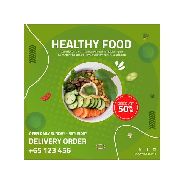 Modelo de panfleto quadrado de comida saudável Vetor grátis