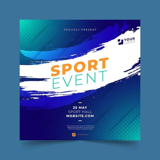Modelo de panfleto quadrado de esporte gradiente Vetor grátis