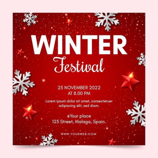 Modelo de panfleto quadrado de festival de inverno Vetor grátis