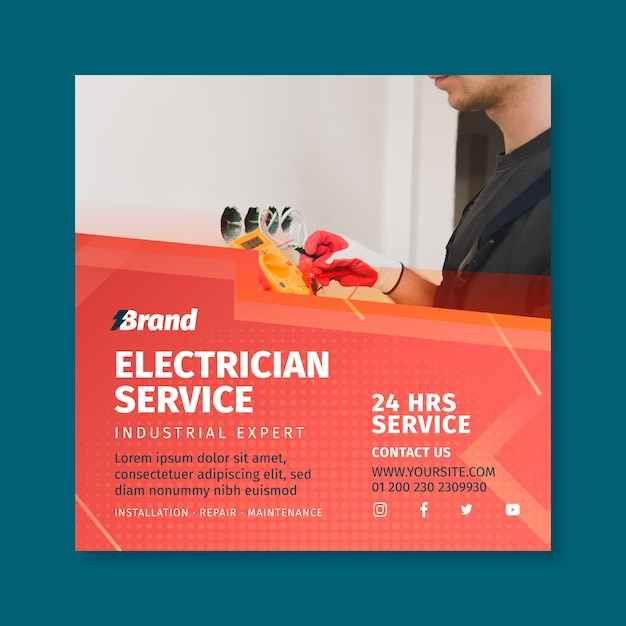 Modelo de panfleto quadrado de serviço de eletricista Vetor grátis