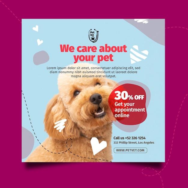 Modelo de panfleto quadrado veterinário para animais de estimação Vetor grátis