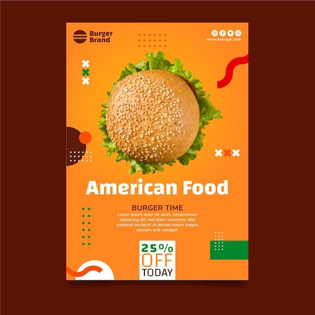 Modelo de panfleto vertical de comida americana com hambúrguer Vetor grátis