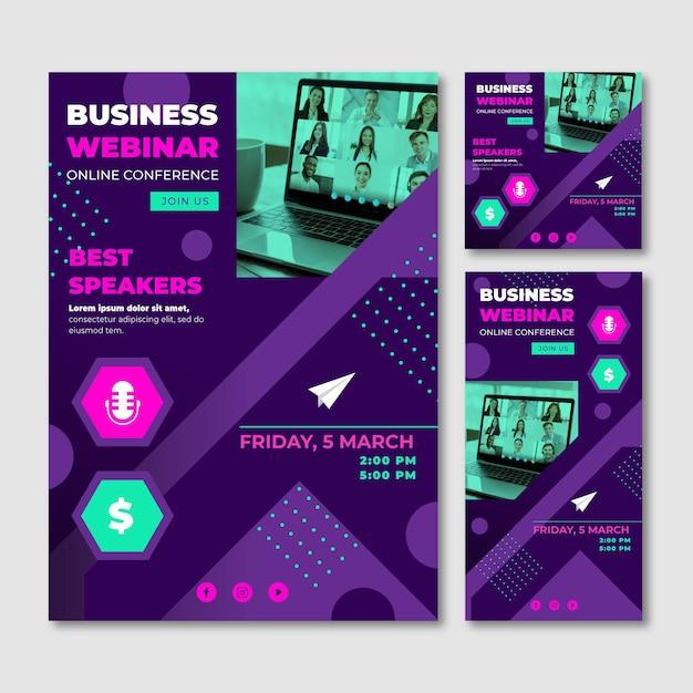 Modelo de panfletos de webinar criativos Vetor grátis