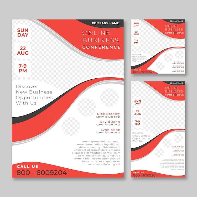 Modelo de panfletos de webinar Vetor Premium