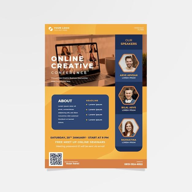 Modelo de panfletos de webinar Vetor grátis