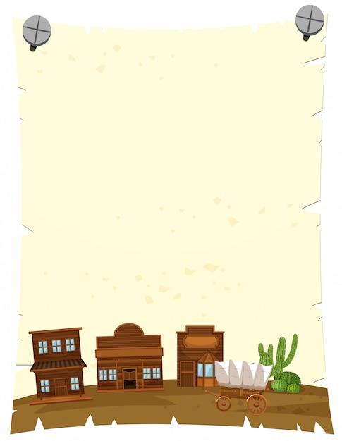 Modelo de papel com a cidade ocidental Vetor grátis