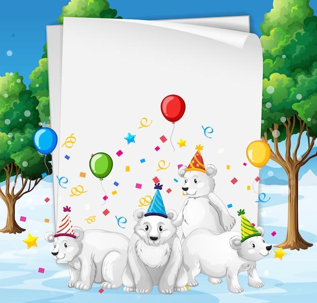 Modelo de papel com animais fofos em tema de festa Vetor grátis
