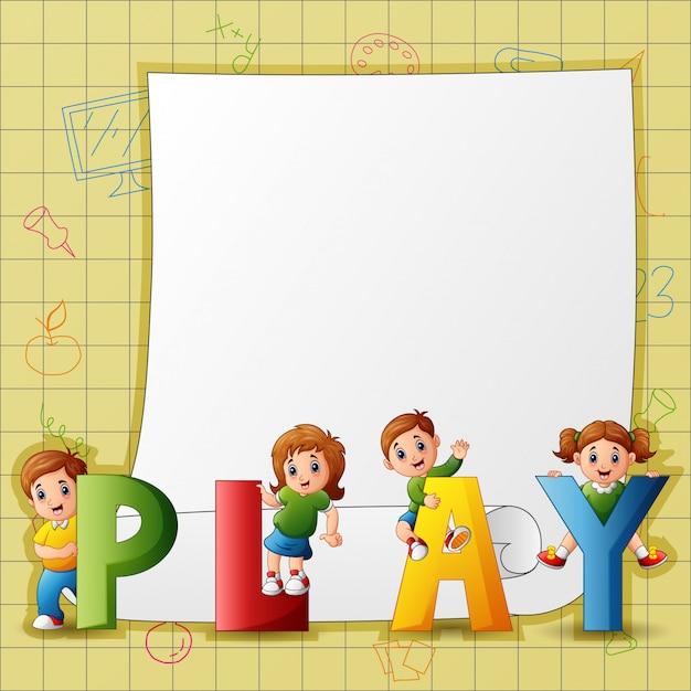 Modelo de papel com crianças em jogar texto Vetor Premium