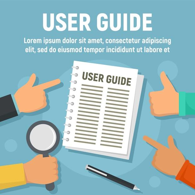 Modelo de papel de guia do usuário, estilo simples Vetor Premium