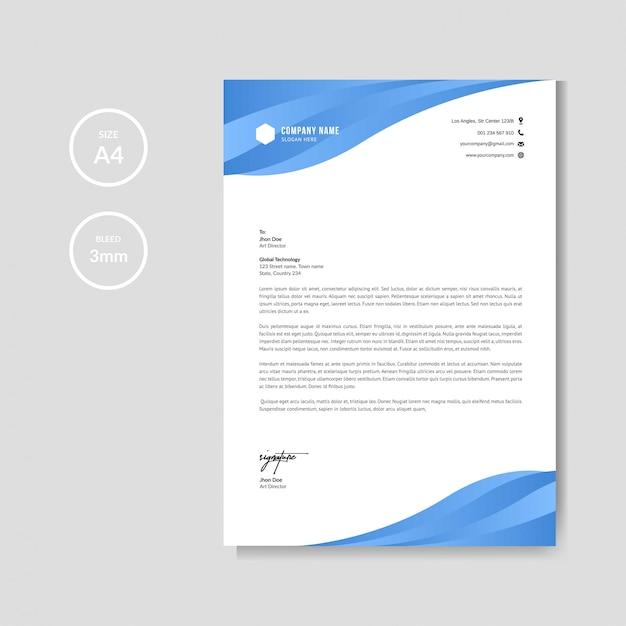 Modelo de papel timbrado - azul criativo profissional Vetor Premium