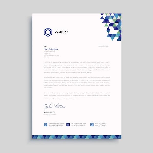 Modelo de papel timbrado - azul criativo Vetor Premium