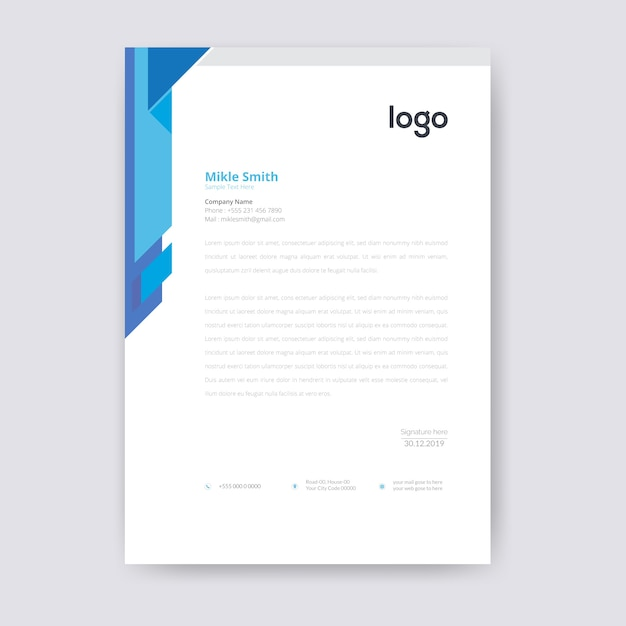 Modelo de papel timbrado - azul Vetor Premium