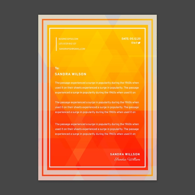 Modelo de papel timbrado de empresária Vetor Premium