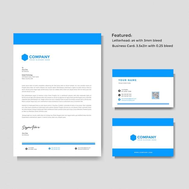 Modelo de papel timbrado e cartão de visita profissional criativo Vetor Premium