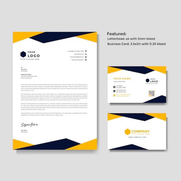 Modelo de papel timbrado e cartão Vetor Premium
