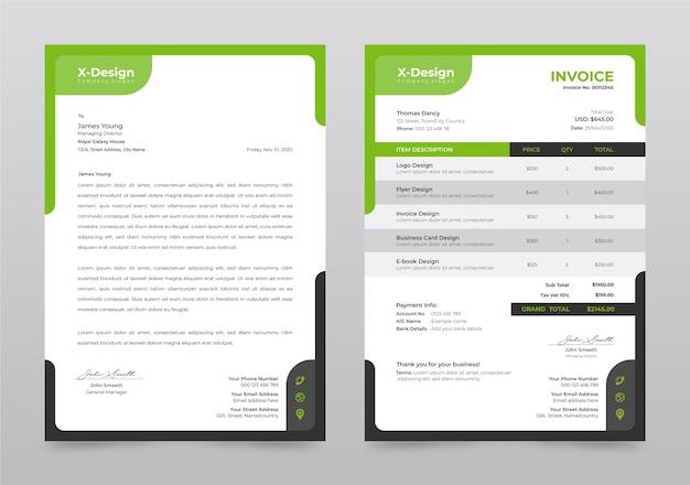Modelo de papel timbrado e fatura de negócios corporativos Vetor Premium