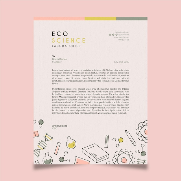 Modelo de papel timbrado - editorial Vetor grátis