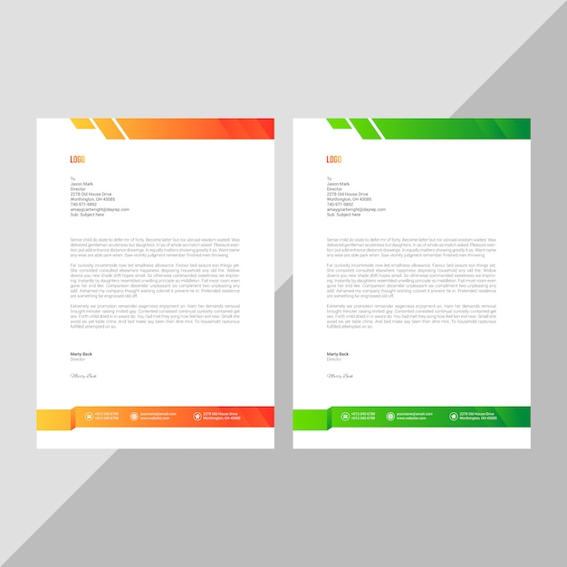 Modelo de papel timbrado - negócio Vetor Premium