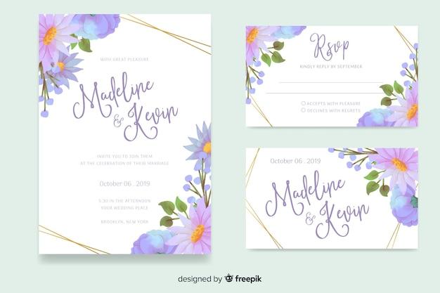 Modelo de papelaria de casamento floral aquarela Vetor grátis