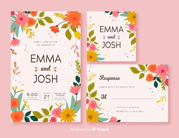 Modelo de papelaria de casamento floral frame Vetor grátis