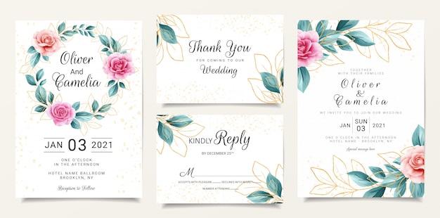 Modelo de papelaria de convite de casamento bonito conjunto com aquarela floral e fundo de brilho Vetor Premium