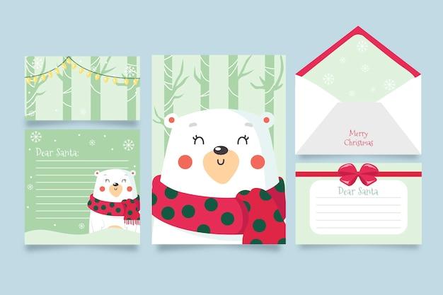 Modelo de papelaria mão desenhada natal Vetor grátis