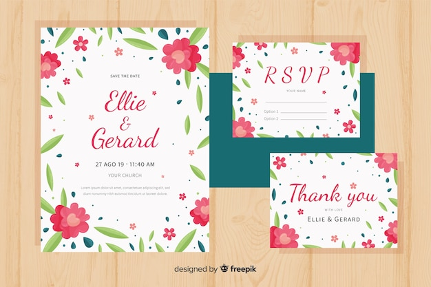Modelo de papelaria plana floral casamento Vetor grátis