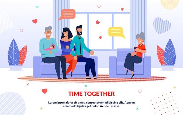 Modelo de parentes a passar tempo juntos em casa a sorrir Vetor Premium