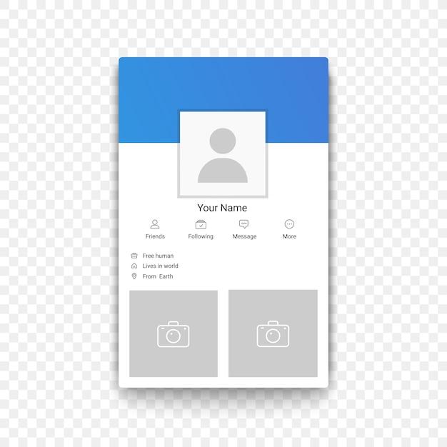 Modelo de perfil de aplicativo móvel de rede social no plano de fundo alfa transperant Vetor Premium