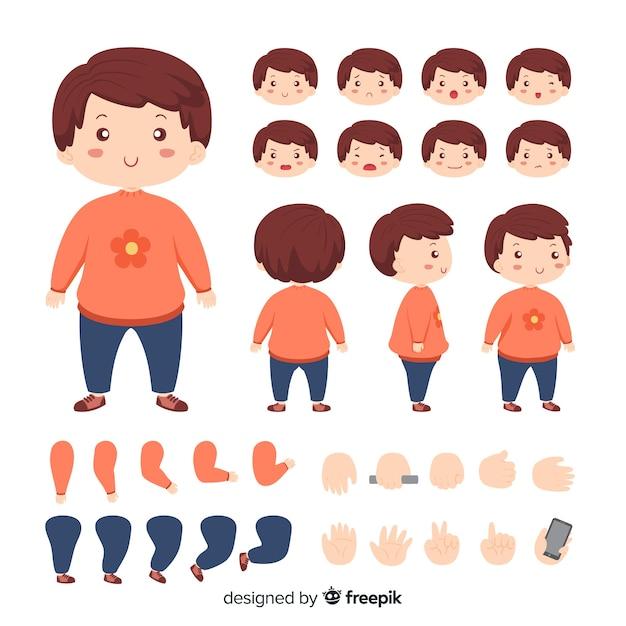 Modelo de personagem de menina bonito dos desenhos animados Vetor grátis