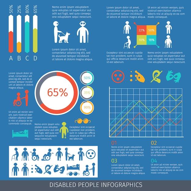 Modelo de pessoas com deficiência infográfico Vetor Premium