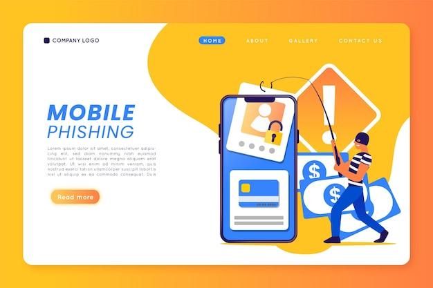 Modelo de phishing para celular Vetor grátis