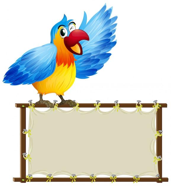 Modelo de placa com papagaio bonitinho no fundo branco Vetor grátis