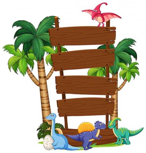 Modelo de placa de madeira de dinossauro Vetor grátis