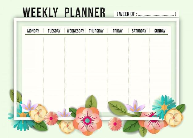 Modelo de planejador de agenda semanal com flores Vetor Premium