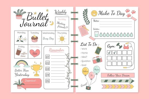 Modelo de planejador de diário com marcadores Vetor grátis
