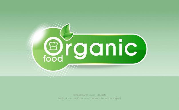 Modelo de plano de fundo de alimentos orgânicos com rótulo verde Vetor Premium